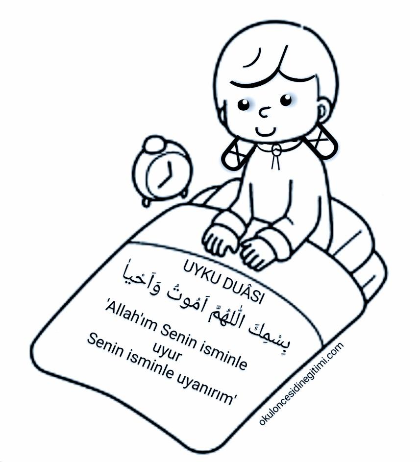 Uyku Duası Boyama Sayfası – Çocuklar için Uyku Duası Etkinliği