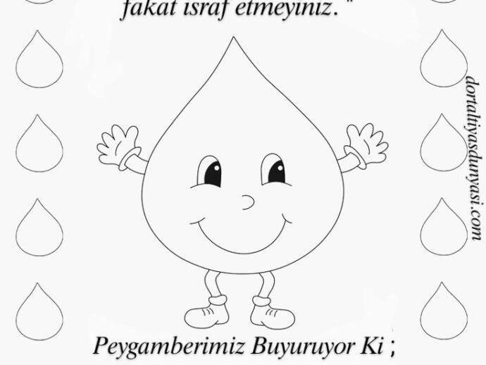 Dünya Su Günü Boyama Sayfası – Ayet ve Hadis<br>
