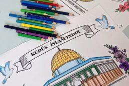 Kudüs İslam'ındır –  İlk Kıblem Mescid-i Aksa – Boyama Sayfası